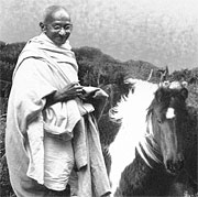 Gandhi with pony